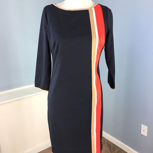 ANN TAYLOR XS Navy Blue red Brown Colorblock dress